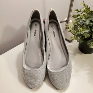 Call it spring silver ballet flats, zipper at back